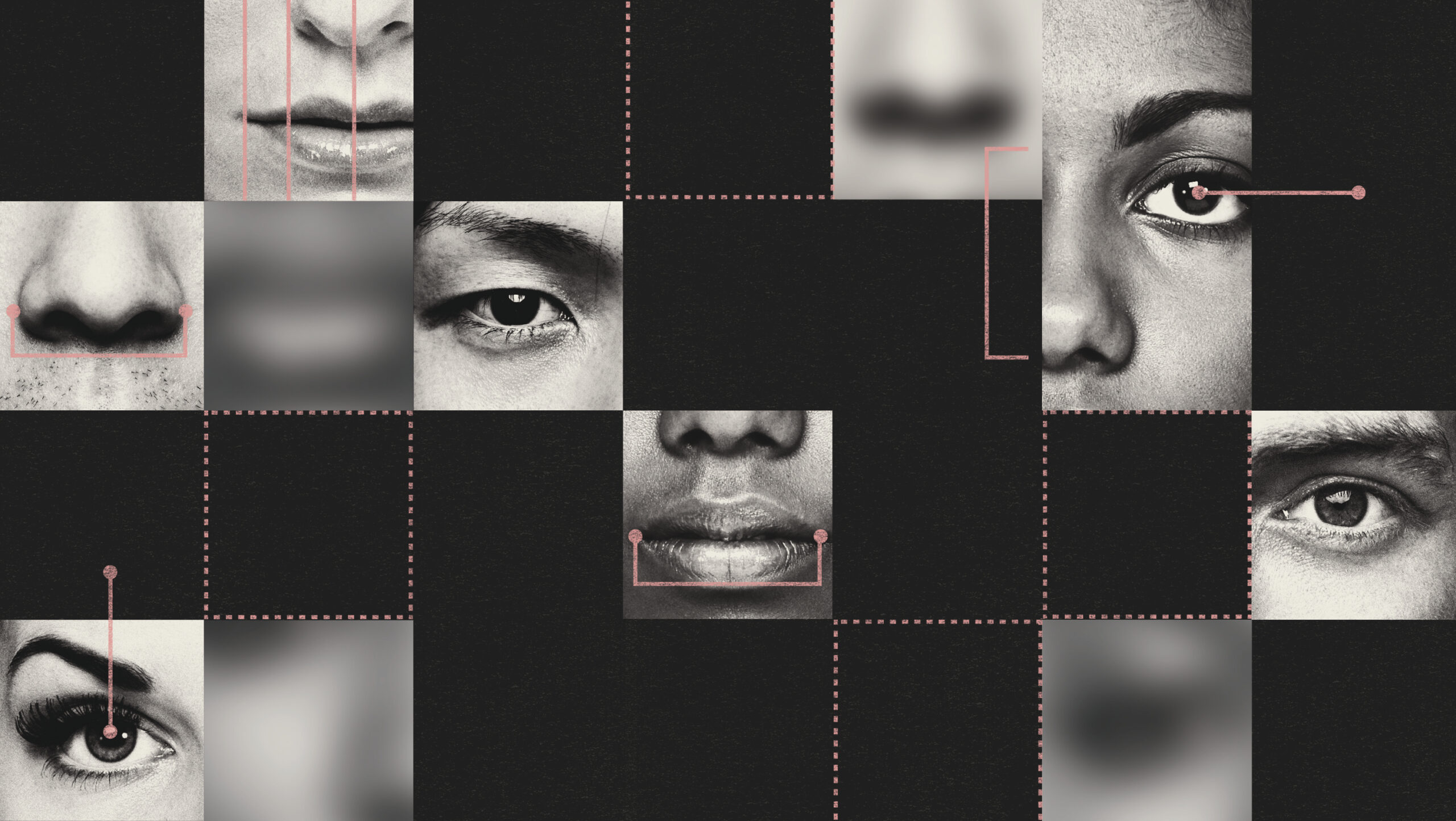 conceptual illustration showing many crops of different faces